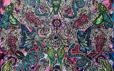 Bees & Butterflier.122 X 122.2015.Ink&Oil on Canvas.Gavin Brown