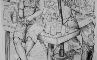 Drink Seller. 570 X 760. 2016. Pencil on Paper. Gavin Brown.jpg