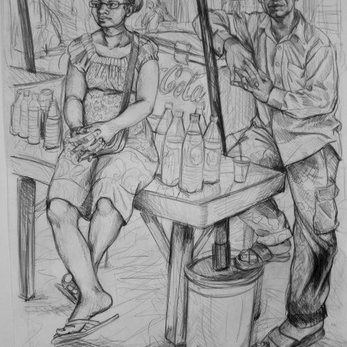 Drink Seller. 570 X 760. 2016. Pencil on Paper. Gavin Brown.jpg