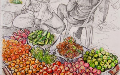 Fruit Stall. 570 X 760. 2017. Pencil on Paper. Gavin Brown.jpg