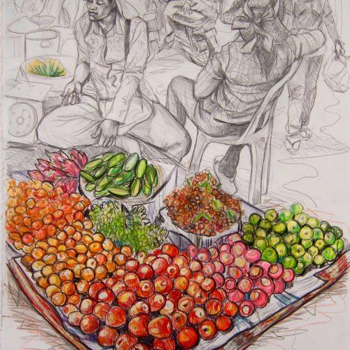 Fruit Stall. 570 X 760. 2017. Pencil on Paper. Gavin Brown.jpg