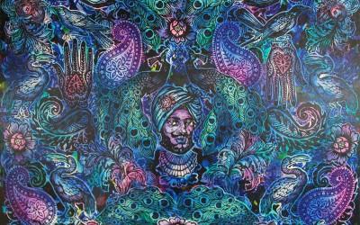 Peacocks & Paisleys. Ink And Acrylic on Canvas.2015. Gavin Brown 153 X 122