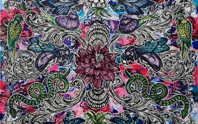 Peonies & Bees.122 X 122.2015.Ink&Oil on Canvas.Gavin Brown