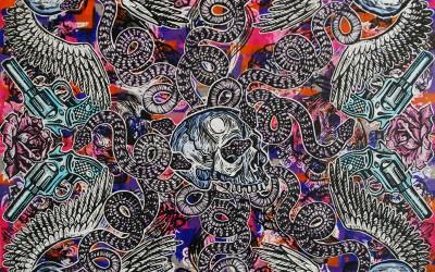 Serpents & Skulls.122 X 122.2015.Ink&Oil on Canvas.Gavin Brown