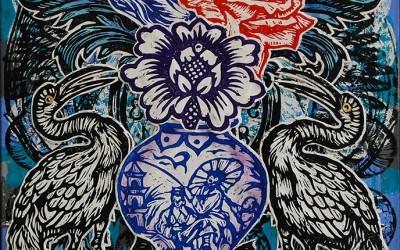 Vase.76 X 51.2015.Ink&Oil on Canvas.Gavin Brown