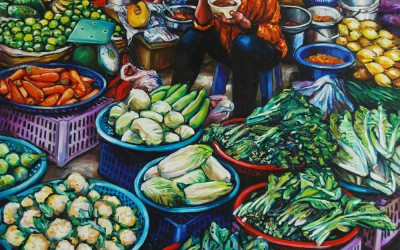 Vegetable Sellers Eating_220 X 1520_2016_Gavin Brown_Oil on Canvas