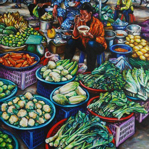 Vegetable Sellers Eating_220 X 1520_2016_Gavin Brown_Oil on Canvas