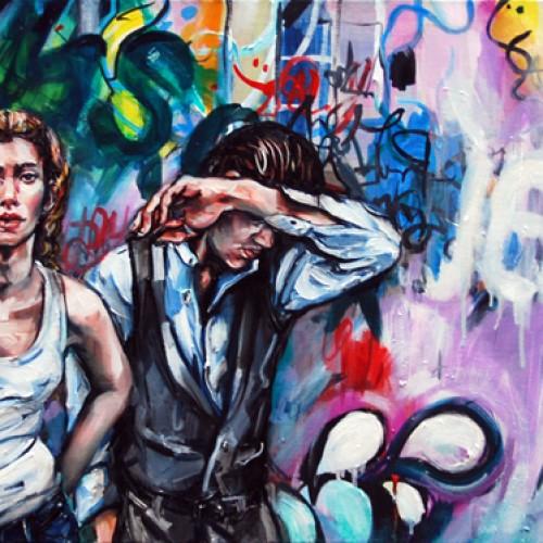 Urban Scrawl #1 Oil on Canvas. 2012. 61cm X 183cm. Gavin Brownd