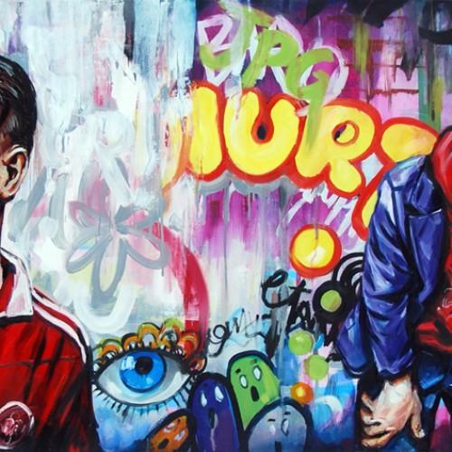 Urban Scrawl #3 Oil on Canvas. 2012. 61cm X 183cm. Gavin Brownd