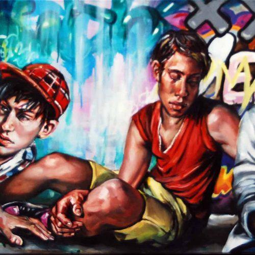 Urban Scrawl #5 Oil on Canvas. 2012. 61cm X 183cm. Gavin Brownd.jpg