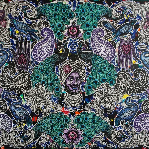 Peacock-Paisley.153-X-122.2015.InkOil-on-Canvas.Gavin-Brown