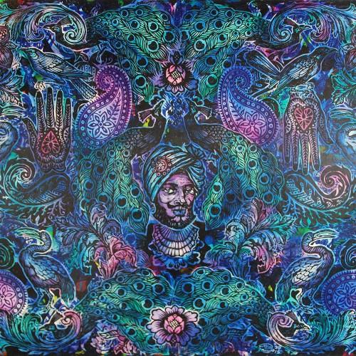 Peacocks-Paisleys.-Ink-And-Acrylic-on-Canvas.2015.-Gavin-Brown-153-X-122