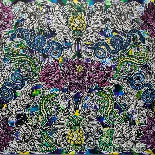 Peonies-Pineapples.153-x-122.2014.InkOil-on-Canvas.Gavin-Brown