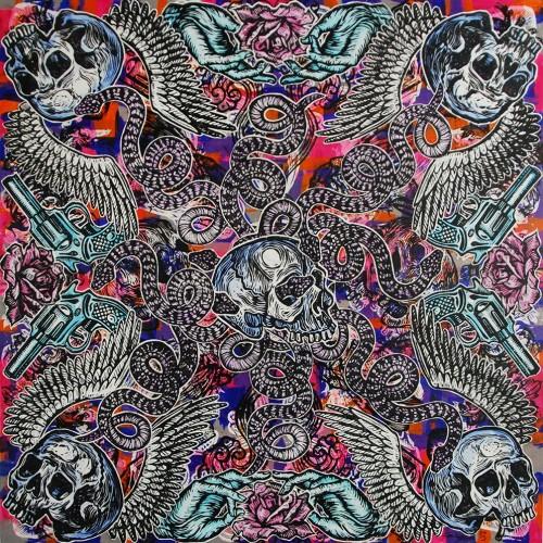 Serpents-Skulls.122-X-122.2015.InkOil-on-Canvas.Gavin-Brown