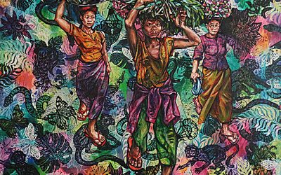 01 Flower Sellers 1_mixed media on canvas_153cmx138cm